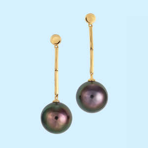 Tahitian Pearl Earrings - Dark Peacock