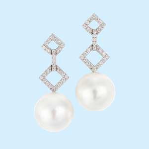 White Pearl Earrings - 13mm